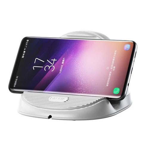 Baseus Desktop QI Wireless Charger 10W Radiating Fan Wireless Fast charging charger for iPhone X, XS , iPhone 11 - White
