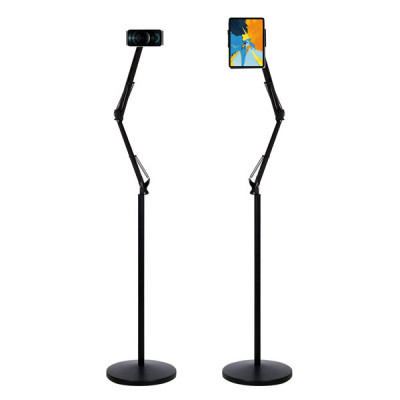 Long Arm Floor Stand For All Smart Phones and iPads UpTo 11 inch