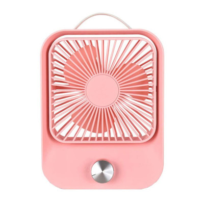 Stepless Rechargeable Speed Control Table Fan - Pink