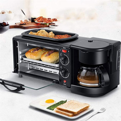 3 in 1 Family Multifunction Breakfast Station, 5 Cup Capacity Coffeemaker, 9 L Removable Toaster Oven, Griddle, Covers Your Entire Morning Breakfast