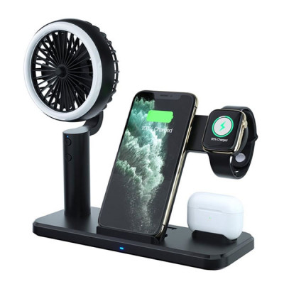 3 in 1 Wireless Charger with Cooling Fan