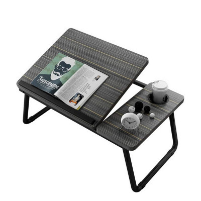 Multi-Purpose Wooden Portable Adjustable Laptop Desk Bed Tray Lap Tablet with Cup Holder - Black