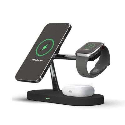 4 in 1 Magnetic Wireless Charger Station with Back LED Light
