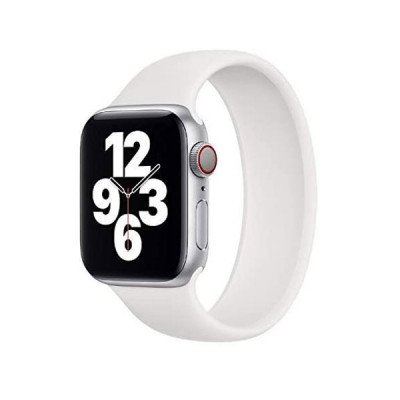Soft Silicon Solo Loop Band for Apple Watch 44 MM/ 42 MM - White