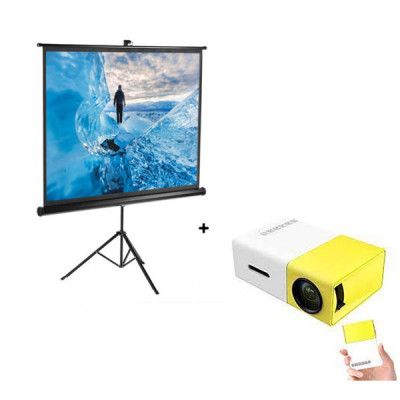 Portable Projector Screen With Stand + Mini Projector ( Works with Power Bank )