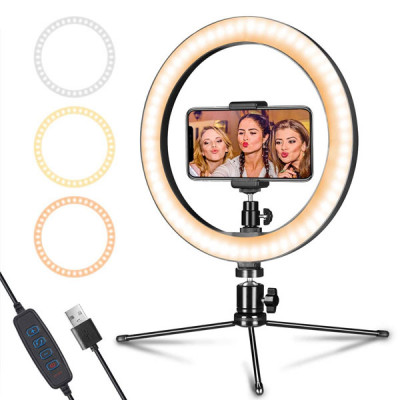 Portable Ring Light with Mini Tripod ( 10 inch )