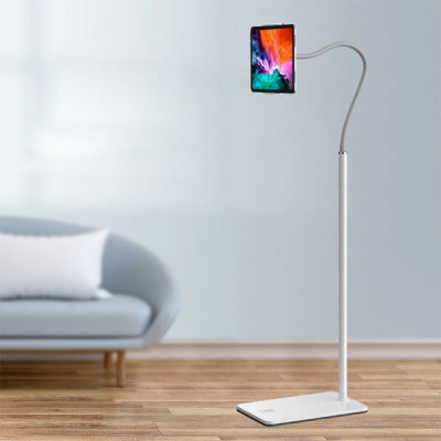 Portable Lazy Floor Stand For All iPads and Mobiles UpTo 13 inch - White