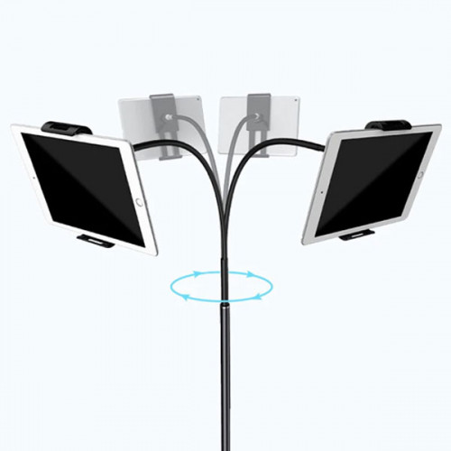 Portable Lazy Floor Stand For All iPads and Mobiles UpTo 13 inch - Black