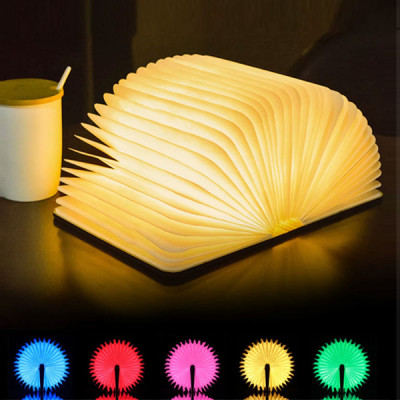 RGB Portable USB Wooden Folding Book Lamp with Remote