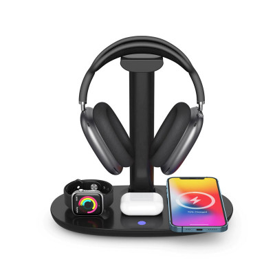 4 in 1 Headset Stand Wireless Charger Headphone Holder