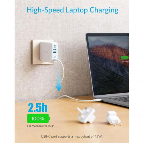 Anker PowerPort III 3-Port 65W Charger with US/UK/EU Plugs for Travel, for MacBook, USB-C Laptops, iPad Pro, iPhone, Galaxy and More - Black