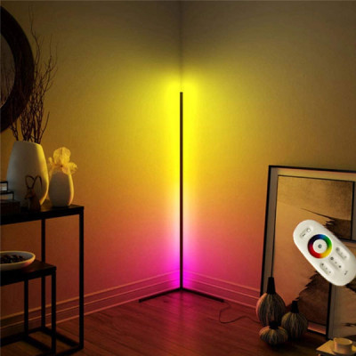 RGB Floor Light, LED Dimmable Corner Floor Lamp with Remote Control