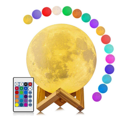 Moon Lamp 16 Colors RGB Led Moon Light with Stand and Remote