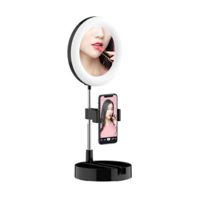 Foldable LED Selfie Ring Light 6 Inch with Mirror and Phone Holder 58cm for Live Stream Makeup YouTube
