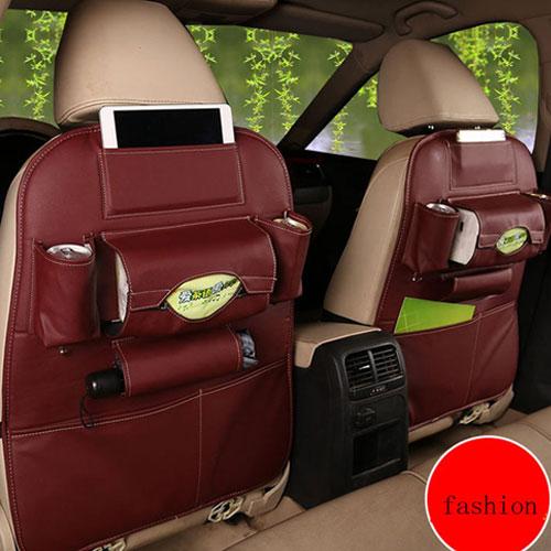 Creative Storage Leather Car Back Seat Storage Bag  - Red