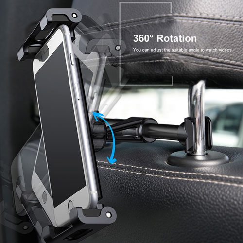 "Baseus Adjustable Headrest Mount Backseat Car Mobile Holder 360 Rotation for (4.7"" to 12.9"") Mobile & Tablets - White"