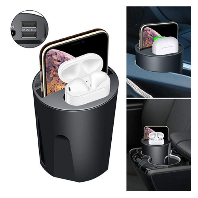 4 In 1 Wireless Car Cup Charger For IPhone and Airpods with 2 USB Charger