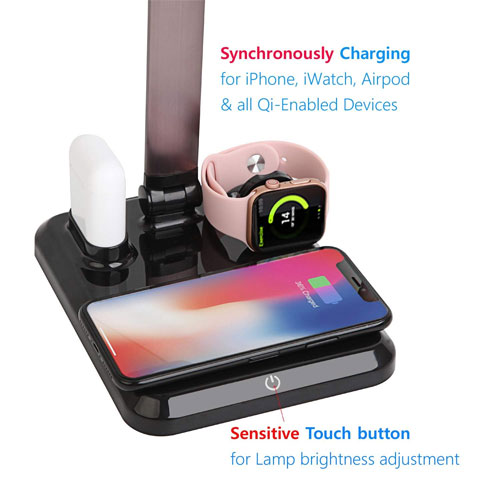 4 in 1 Wireless Charger For iPhone , Airpods , Apple Watch and LED Desk Lamp with USB Charging Port - Black