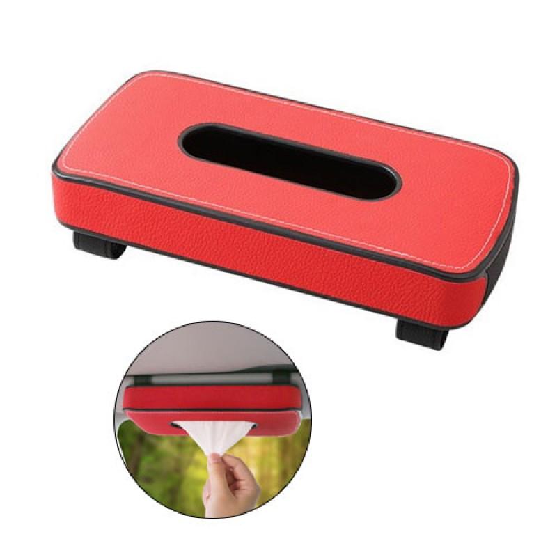 Car Sun Visor Leather Tissue Box Holder - Red